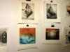 Prints hanging in the studio